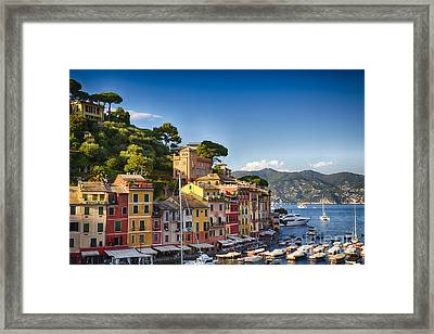 Colorful Harbor Houses In Portofino Framed Print by George Oze