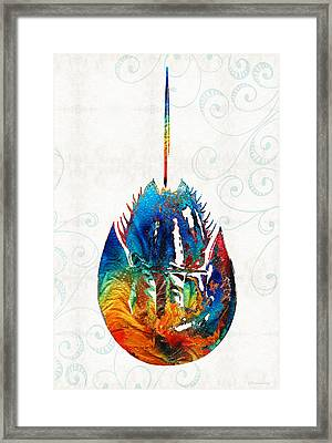 Colorful Horseshoe Crab Art By Sharon Cummings Framed Print by Sharon Cummings