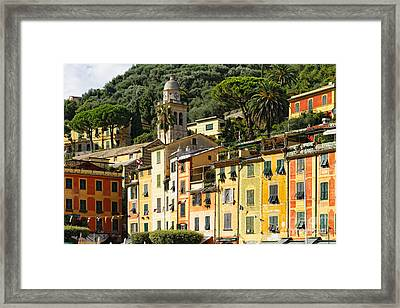 Colorful House Facades Of Portofino Framed Print by George Oze