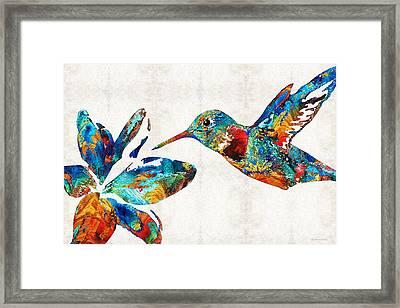 Colorful Hummingbird Art By Sharon Cummings Framed Print by Sharon Cummings