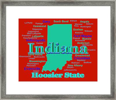 Colorful Indiana State Pride Map Silhouette  Framed Print by Keith Webber Jr