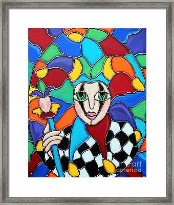 Colorful Jester Framed Print by Cynthia Snyder