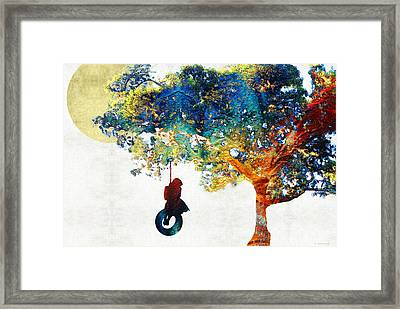 Colorful Landscape Art - The Dreaming Tree - By Sharon Cummings Framed Print by Sharon Cummings