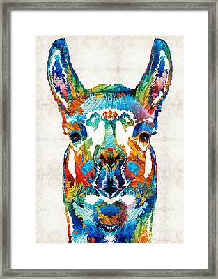 Colorful Llama Art - The Prince - By Sharon Cummings Framed Print by Sharon Cummings