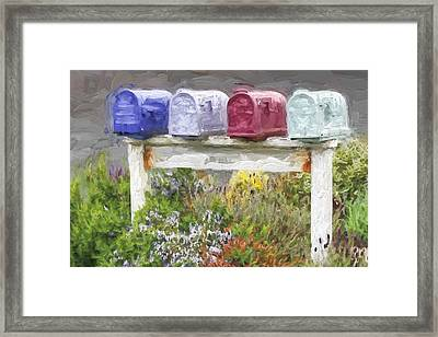 Colorful Mailboxes And Flowers Painterly Effect Framed Print by Carol Leigh