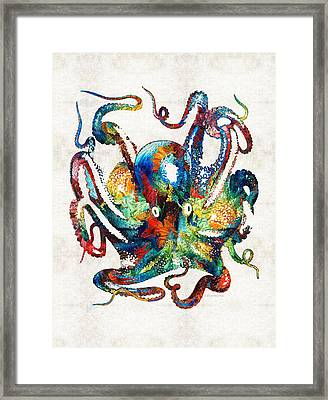Underwater Diva Framed Print featuring the painting Colorful Octopus Art By Sharon Cummings by Sharon Cummings