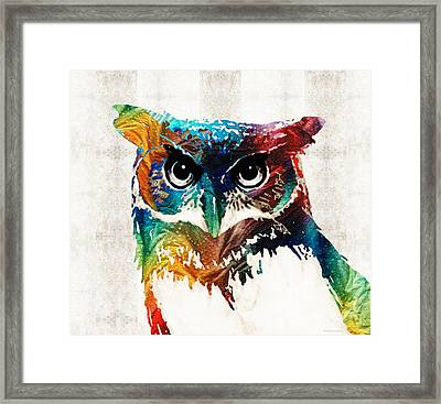 Colorful Owl Art - Wise Guy - By Sharon Cummings Framed Print by Sharon Cummings