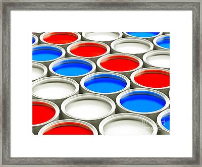 Colorful Paint Cans - Alternating Red White And Blue Framed Print by Shazam Images