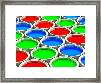 Colorful Paint Cans - Alternating Rgb Version Framed Print by Shazam Images