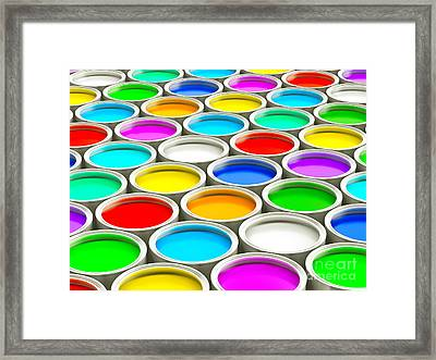 Colorful Paint Cans - Random Colors Version Framed Print by Shazam Images