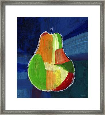 Colorful Pear- Abstract Painting Framed Print by Linda Woods
