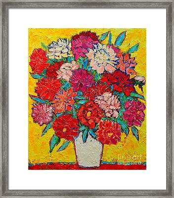 Colorful Peonies Framed Print by Ana Maria Edulescu
