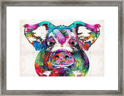 Colorful Pig Art - Squeal Appeal - By Sharon Cummings Framed Print by Sharon Cummings