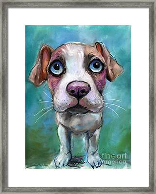 Colorful Pit Bull Puppy With Blue Eyes Painting  Framed Print by Svetlana Novikova