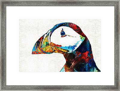 Colorful Puffin Art By Sharon Cummings Framed Print by Sharon Cummings