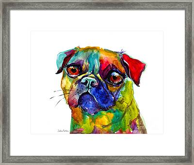 Colorful Pug Dog Painting  Framed Print by Svetlana Novikova
