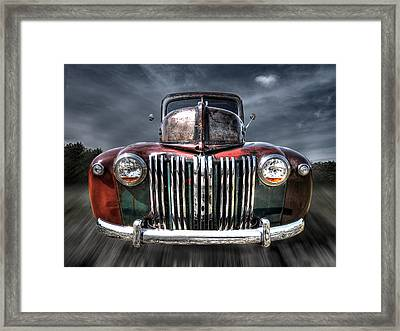 Colorful Rusty Ford Head On Framed Print by Gill Billington
