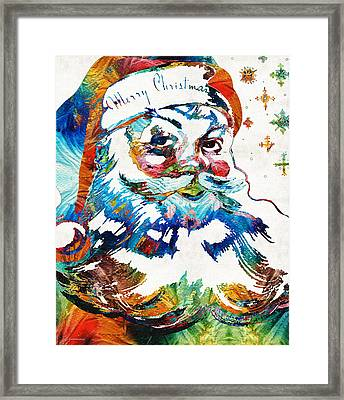 Colorful Santa Art By Sharon Cummings Framed Print by Sharon Cummings