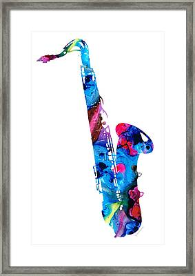 Colorful Saxophone 2 By Sharon Cummings Framed Print by Sharon Cummings