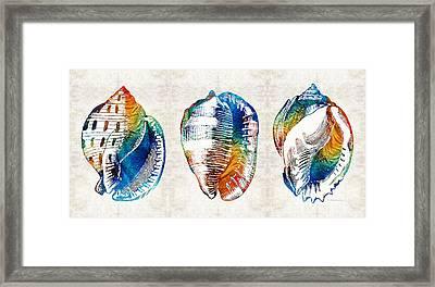 Colorful Seashell Art - Beach Trio - By Sharon Cummings Framed Print by Sharon Cummings