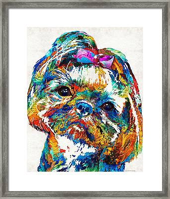 Colorful Shih Tzu Dog Art By Sharon Cummings Framed Print by Sharon Cummings