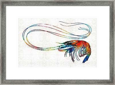 Colorful Shrimp Art By Sharon Cummings Framed Print by Sharon Cummings