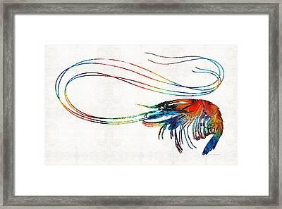 Colorful Shrimp Art By Sharon Cummings Framed Print by Sharon Cummings