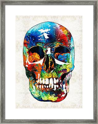 Colorful Skull Art - Aye Candy - By Sharon Cummings Framed Print by Sharon Cummings