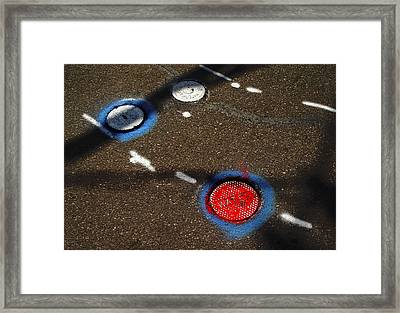 Colorful Storm Drain Covers And White Framed Print by Panoramic Images