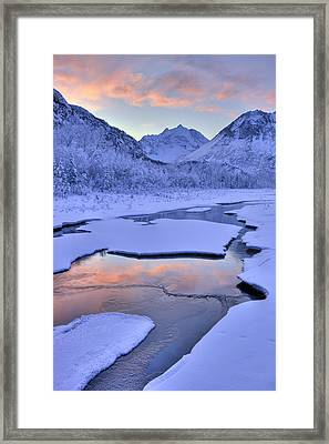 Colorful Sunrise Over A Stream At The Framed Print by Lucas Payne