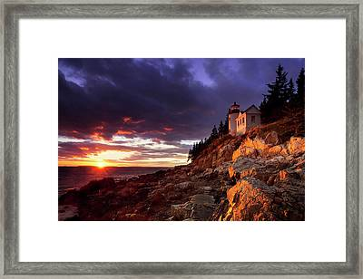 Colorful Sunset At Bass Harbor Framed Print by Brian Jannsen
