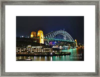 Colorful Sydney Harbour Bridge By Night Framed Print by Kaye Menner
