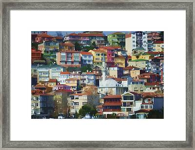 Colorful Town Framed Print by Joan Carroll