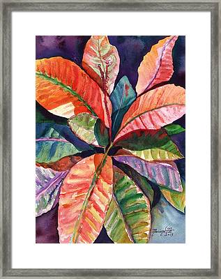 Colorful Tropical Leaves 1 Framed Print by Marionette Taboniar