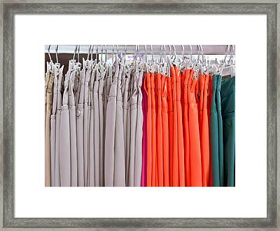 Colorful Trousres Framed Print by Tom Gowanlock