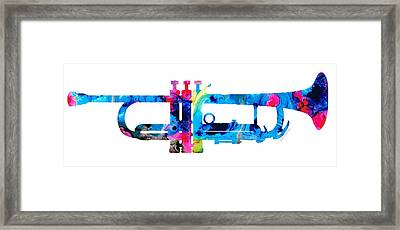 Colorful Trumpet 2 Art By Sharon Cummings Framed Print by Sharon Cummings