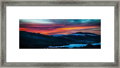 Colorful Twilight Panorama Framed Print by Mike Lee