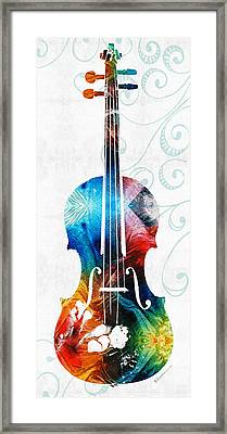 Colorful Violin Art By Sharon Cummings Framed Print by Sharon Cummings