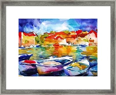 Colorful Watercolor Boats European Water Scape Framed Print by Svetlana Novikova