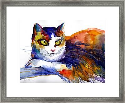 Colorful Watercolor Cat On A Tree Painting Framed Print by Svetlana Novikova
