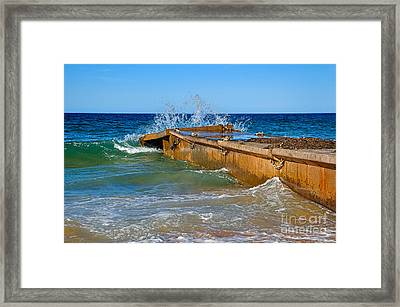 Colorful Waves Around Old Pier Framed Print by Kaye Menner