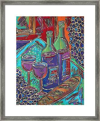 Colorful Wine Table Framed Print by Cynthia Snyder