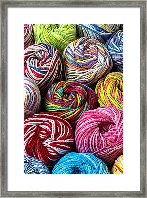 Colorful Yarn Framed Print by Garry Gay