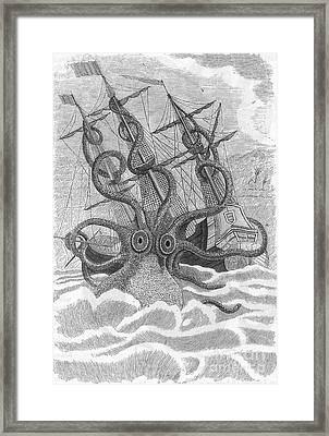 Colossal Octopus Attacking Ship, 1801 Framed Print by Photo Researchers