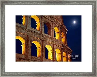 Colosseum And Moon Framed Print by Inge Johnsson