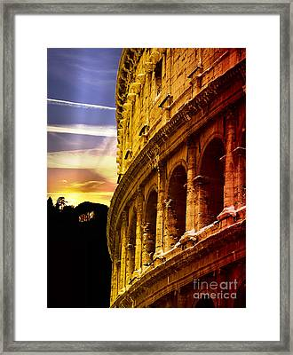Colosseum Sunset Framed Print by Stefano Senise