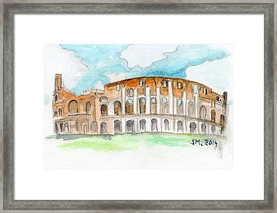 Colosseum Watercolour Sketch Framed Print by Sophie McAulay