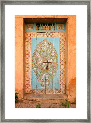 Colourful Moroccan Entrance Door Sale Rabat Morocco Framed Print by Ralph A  Ledergerber-Photography