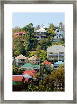 Colourful Queenslander Houses On A Steep Hillside  Framed Print by David Hill