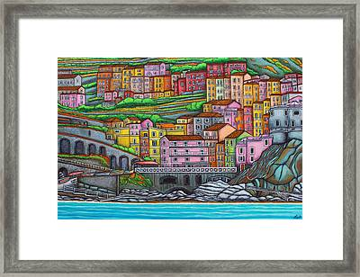 Colours Of Manarola Framed Print by Lisa  Lorenz